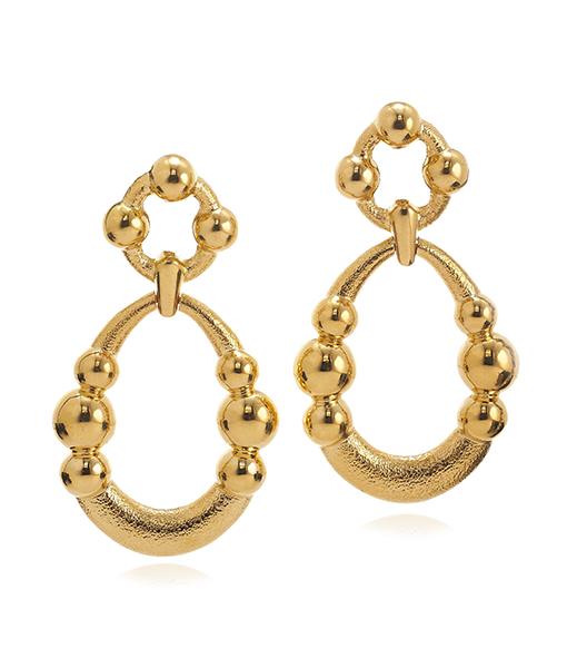 David Webb Hammered Gold Earrings