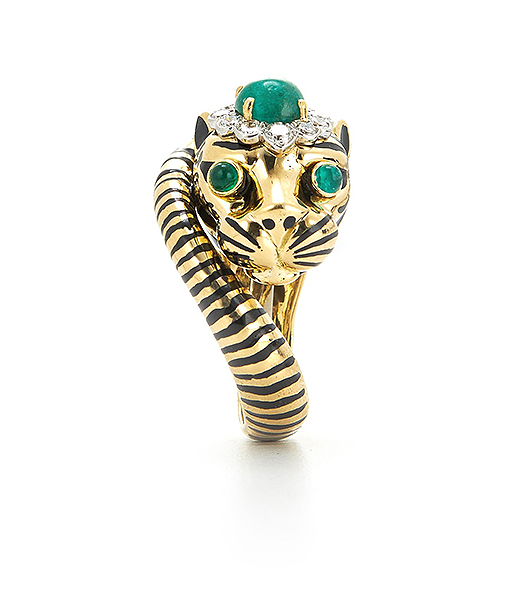 David Webb Kingdom Tiger Ring with emerald eyes