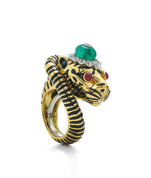 David Webb Kingdom Tiger Ring with ruby eyes