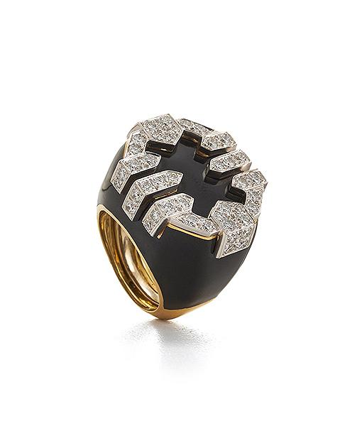 David Webb Black Enamel and Diamond Strap Ring
