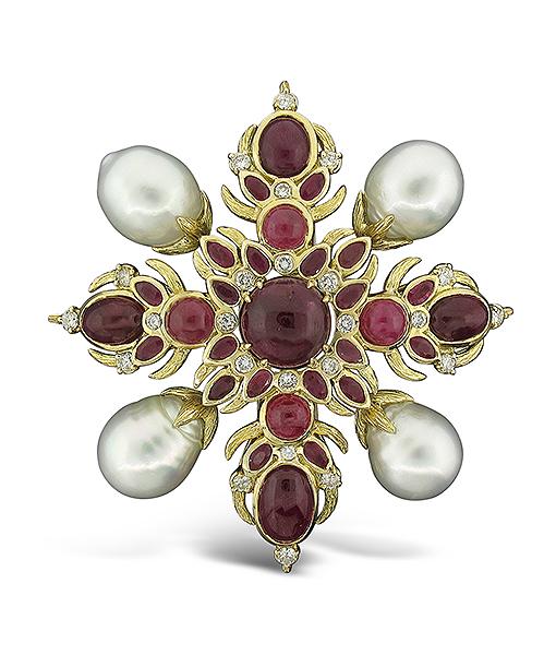 Tony Duquette Ruby Pearl Diamond Pendant