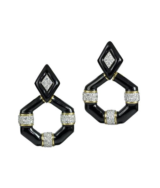 David Webb Black Enamel Diamond Earrings