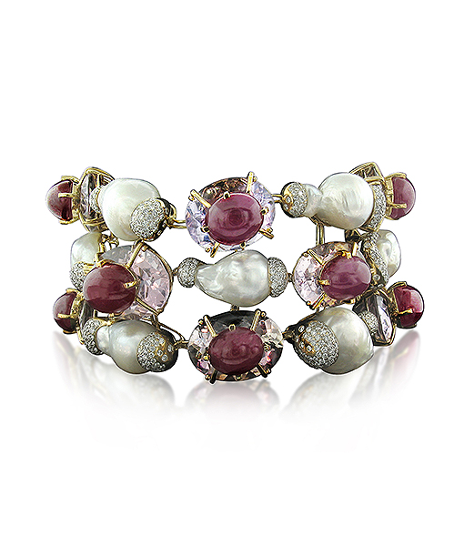 Tony Duquette Amethyst Ruby Diamond Bracelet Pearls