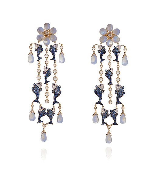 Lydia Courteille Moonstone and Sapphire Earrings