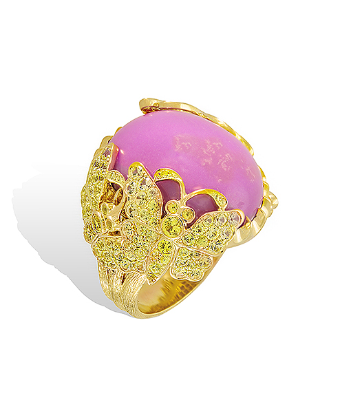 Lydia Courteille Phosphosiderite and Sapphire Ring