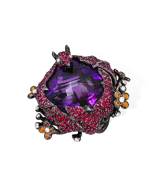 Lydia Courteille Bat Ring with Rubies