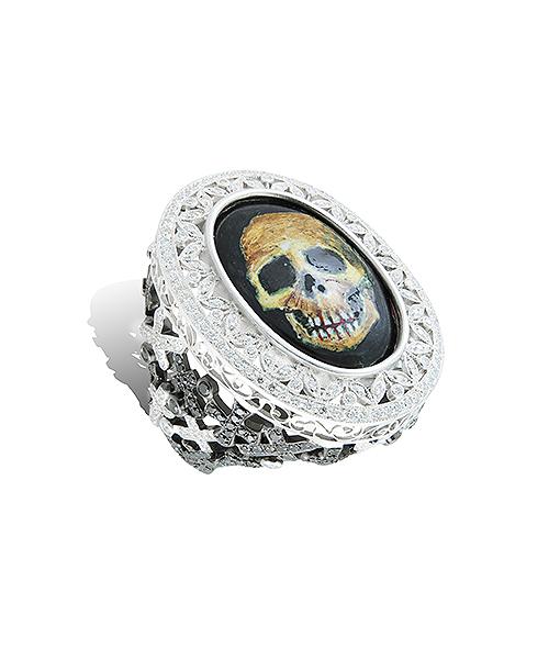 Lydia Courteille Enamel Skull Face Diamond Ring