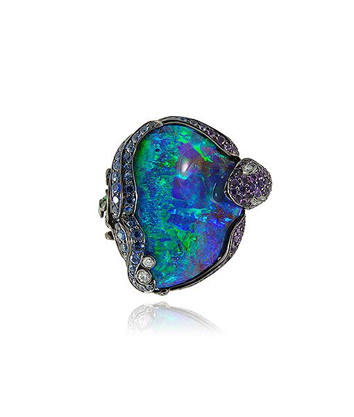 Lydia Courteille Opal Amethyst Sapphire Tsavorite Ring