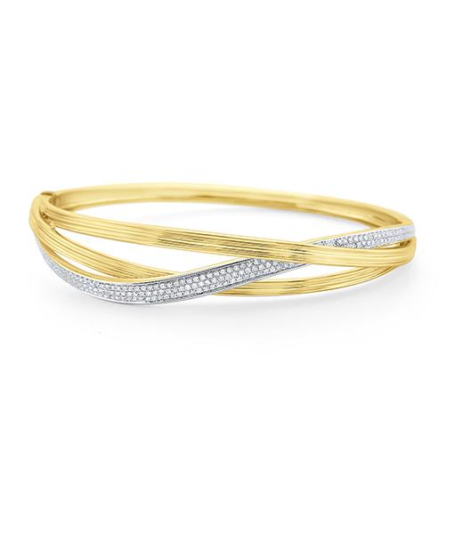 Pave Diamond Intertwining Gold Bracelet