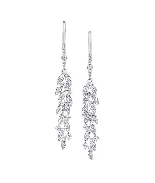 Diamond Leaf Drop Earrings