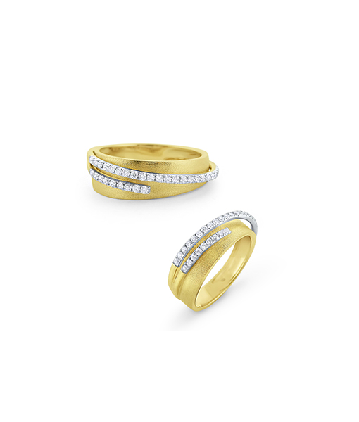 Raised Diamond and Brushed Gold Ring