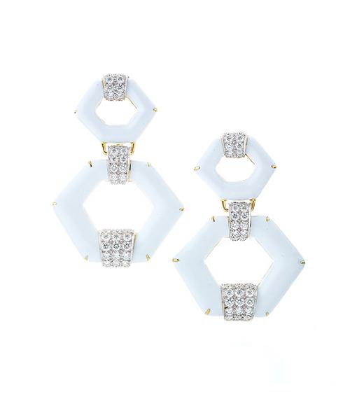 David Webb Manhattan Minimalism White Enamel Earrings