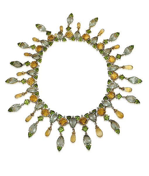 Tony Duquette Peridot Citrine and Green Amethyst Necklace