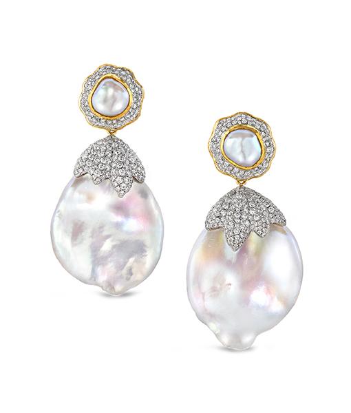 Victor Velyan Baroque Pearl and Diamond Earrings