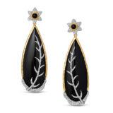 Victor Velyan Black Jade Diamond Earrings
