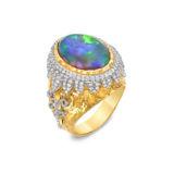 Victor Velyan Black Opal and Diamond Ring