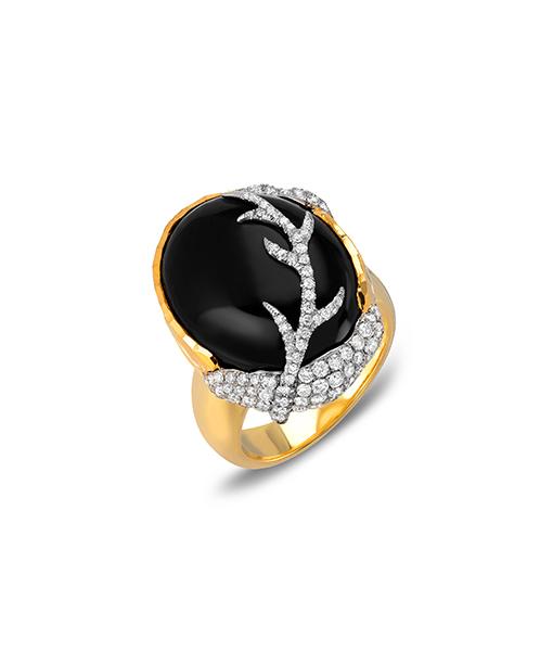 Victor Velyan Black Jade and Diamond Ring
