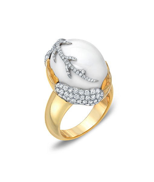 Victor Velyan Cacholong and Diamond Ring