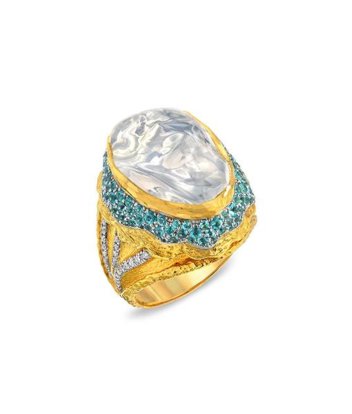 Victor Velyan Clear Fire Opal Paraiba Diamond Ring