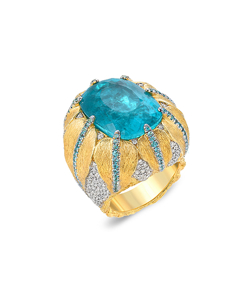 Victor Velyan Couture Paraiba Diamond Ring
