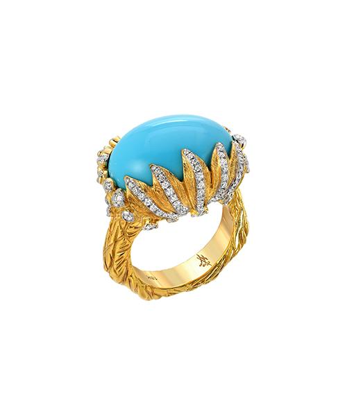 Victor Velyan Turquoise Diamond Ring