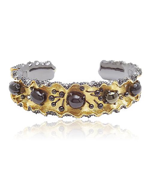 Victor Velyan Black Spinel and Diamond Ruffle Cuff