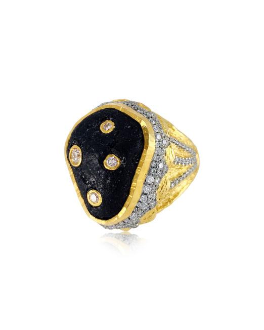 Victor Velyan Black Tourmaline and Diamond Ring