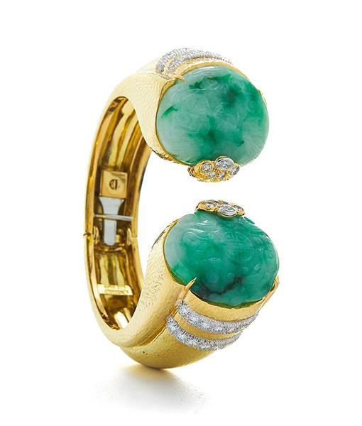 David Webb Carved Jade Diamond Bracelet