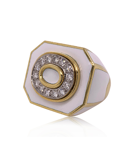 David Webb White Enamel Diamond Ring
