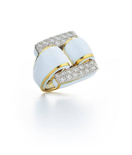 David Webb Tire Ring Brilliant-cut Diamonds White Enamel
