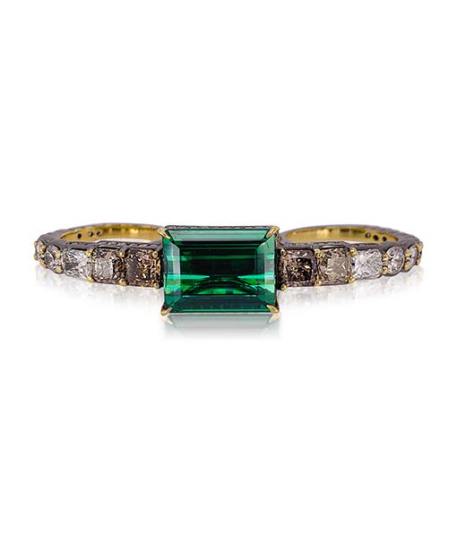 Ara Vartanian Green Tourmaline and Diamond Three-Finger Ring