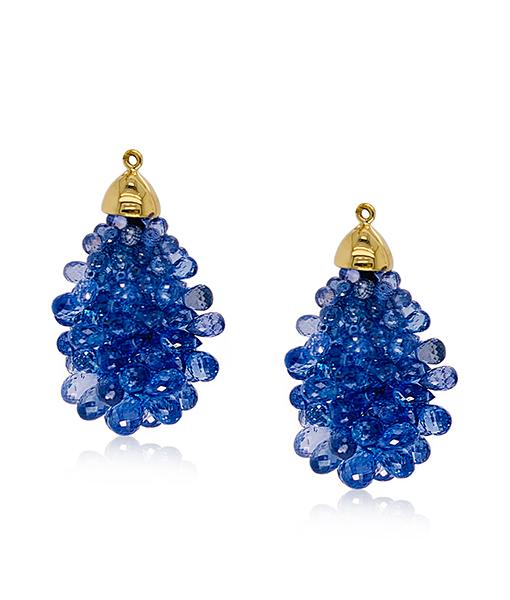Blue Sapphire Briolette Earring Drops