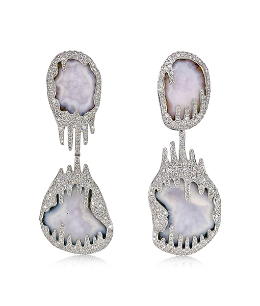 Lydia Courteille Agate Geode Earrings