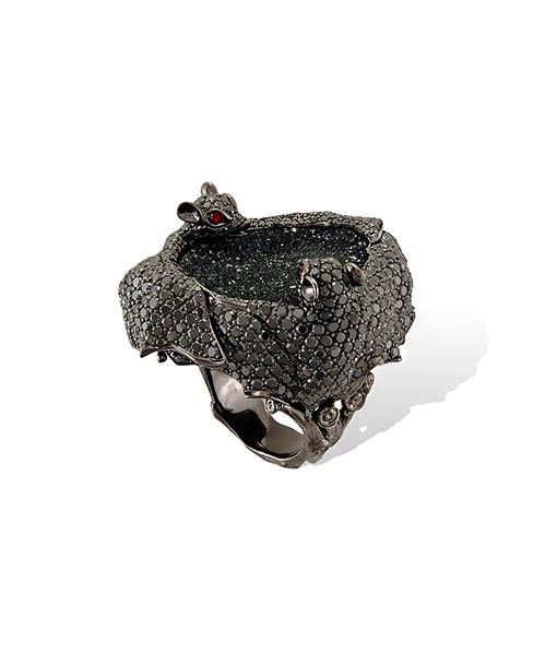 Lydia Courteille Bat Ring Druzy Agate Crystal Rubies Black Diamonds