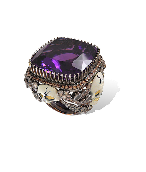 Lydia Courteille Amethyst and White Enamel Skull Ring