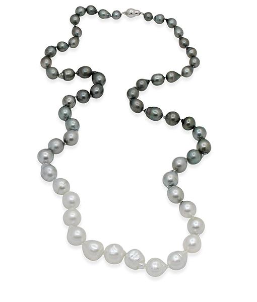 White Black Baroque Ombre Pearl Necklace