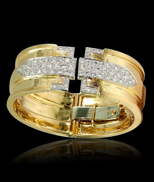 David Webb Brilliant-cut Diamonds Chased Platinum