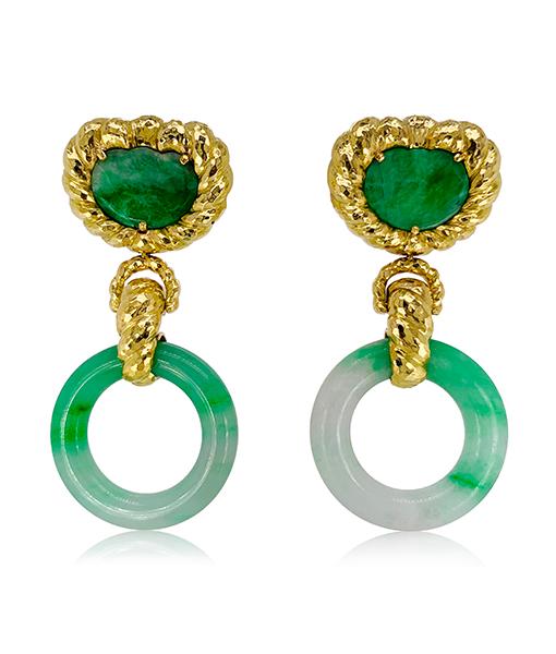 David Webb Ancient World Jade Hoop Earrings