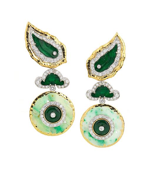 David Webb Carved Jade Disk Earrings Diamonds
