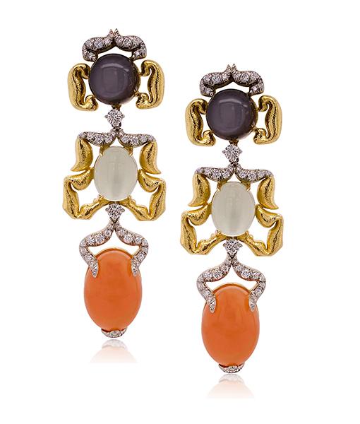 David Webb Cabochon Moonstone Diamond Earrings