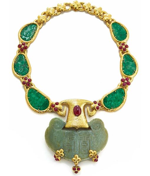 David Webb Carved Jade Cabochon Rubies Hammered Necklace