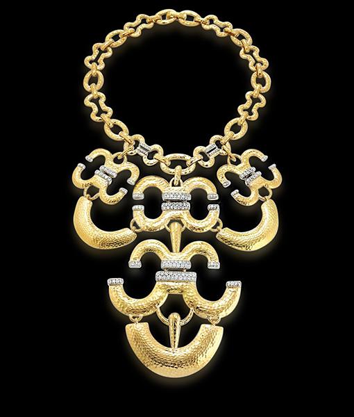 David Webb Brilliant-cut Diamonds Hammered Necklace