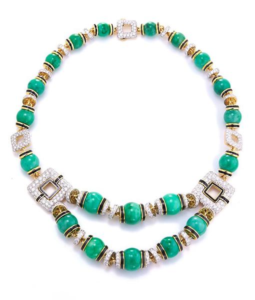 David Webb Couture Necklace Jade Beads Diamonds