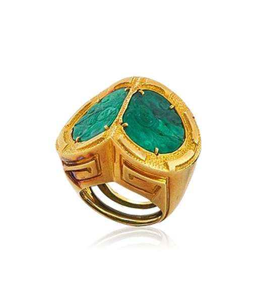 David Webb Carved Jade Ring