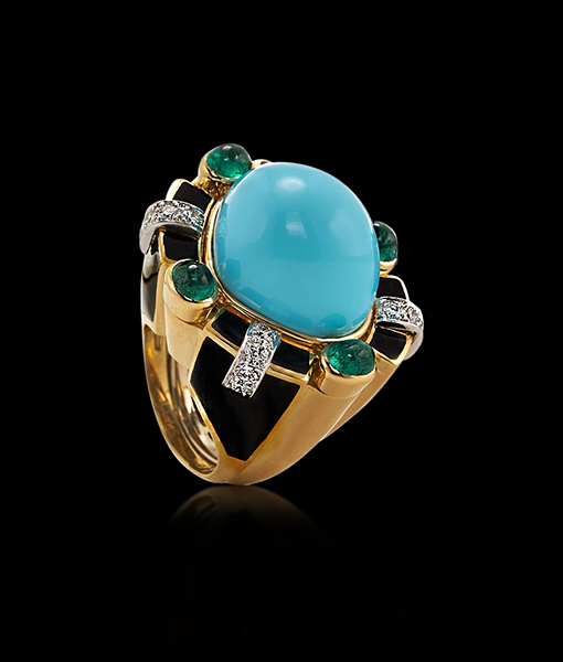 David Webb Turquoise and Emerald Ring #