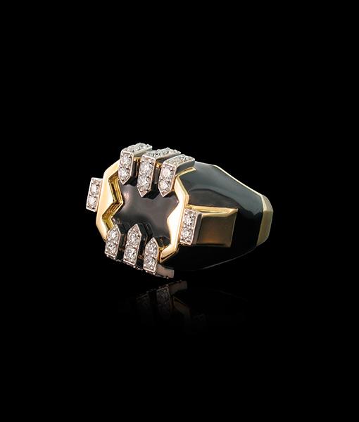 David Webb Black Enamel and Diamond Ring