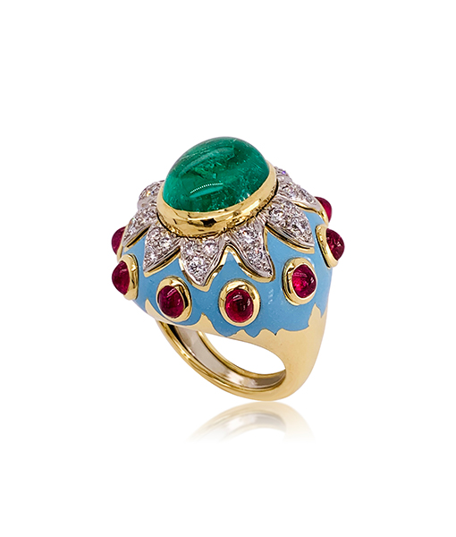 David Webb Cabochon Emerald Ring with Rubies
