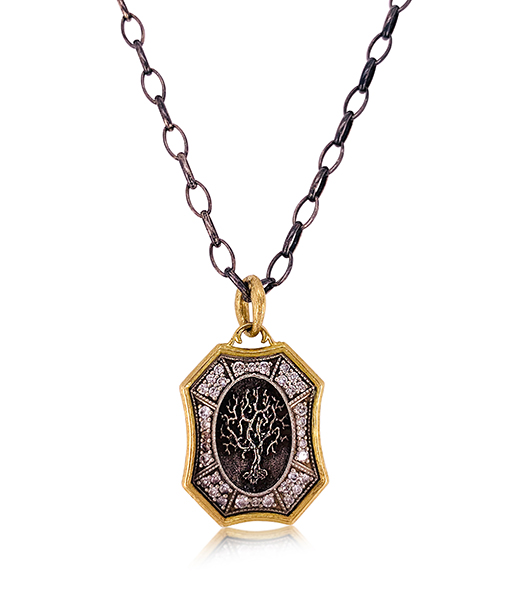 Erica Molinari Shield Tree of Life Diamond Pendant