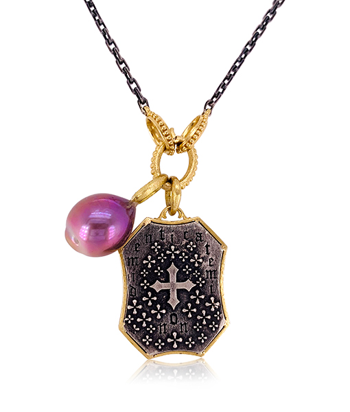 Erica Molinari Maltese Cross and Pearl Pendants