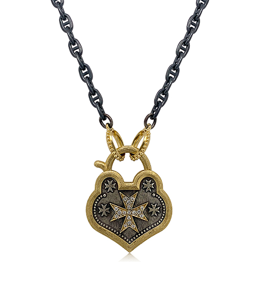 Erica Molinari Pointed Heart Diamond Maltese Padlock
